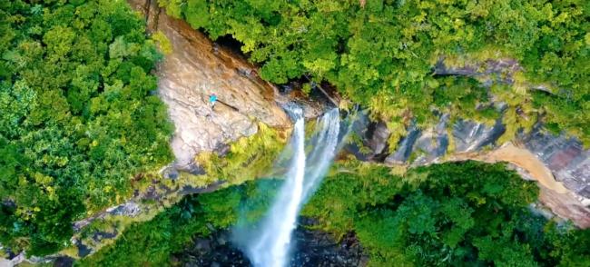 ドローンで撮影した西表島アクティビティ「ピナイサーラの滝」の上から